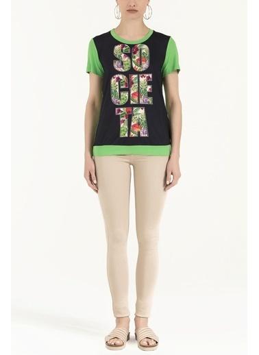 Societa Baskılı Bol Kesim Örme Bluz 19595 Yeşil